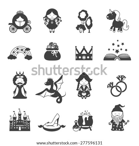 Fairy tale black icons set with princess dragon and magic symbols isolated vector illustration - stock vector