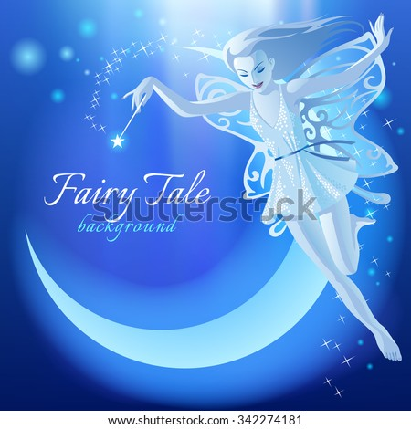 Fairy Tale blue luminous background with flying fairy girl and moon. Fantasy birthday greeting card. Vector illustration - stock vector