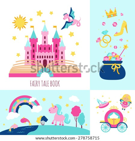 Fairy tale book concept with magic fantasy cartoon characters icons set isolated vector illustration - stock vector