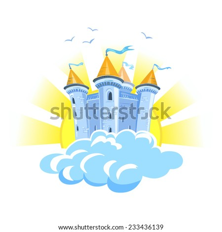 fairy tale castle in the clouds with the sun. vector illustration - stock vector
