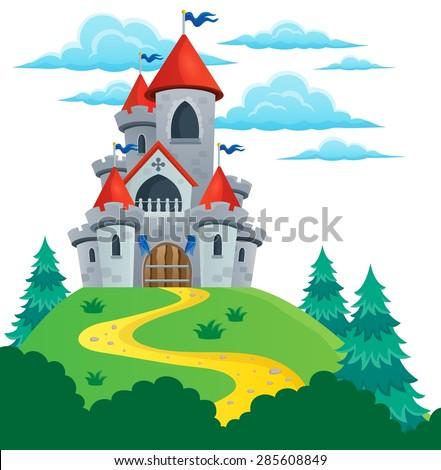 Fairy tale castle theme image 2 - eps10 vector illustration. - stock vector