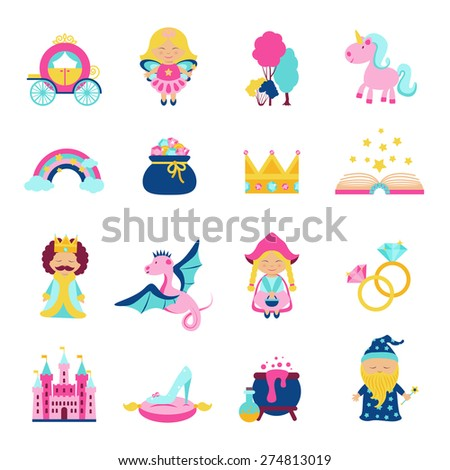 Fairy tale characters and symbols set with magic book wand dragon unicorn isolated vector illustration - stock vector