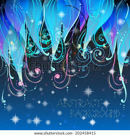 Fairy tale elegant abstract background illustration in vector with swirls, stars and dots. Good night pattern. Used clipping mask for easy editing. - stock vector