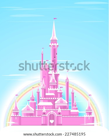 Fairy-tale Pink Sparkly Palace Castle Fortress with Rainbow and flag vector illustration. - stock vector