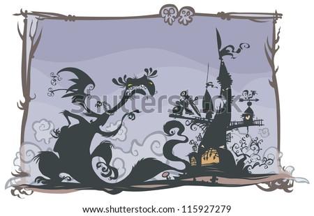 Fairy tale scene with cartoon silhouettes. - stock vector