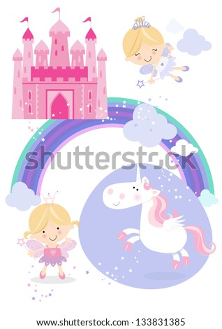Fairy tale set icons/illustrations One pretty fairy princess with wand, one flying fairy, a winged unicorn, rainbow, fluffy clouds and a fairy castle in the sky. - stock vector