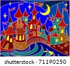 fairy tale town, stained-glass background - stock vector