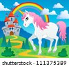 Fairy tale unicorn theme image 2 - vector illustration. - stock photo