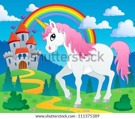 Fairy tale unicorn theme image 2 - vector illustration. - stock vector