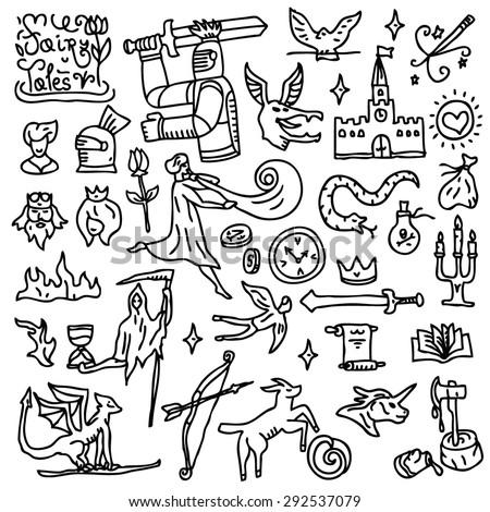 fairy tales - doodles - stock vector