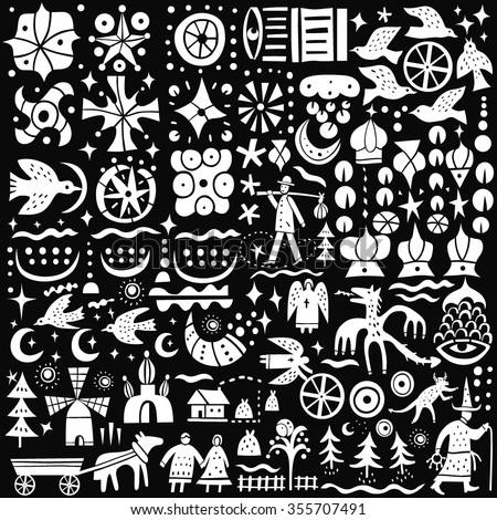 fairy tales - icons set - stock vector
