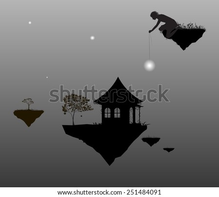 Fairy time, young fairy man put the stars above the house  and tree on flying rock, black and white, shadows - stock vector