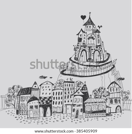 Fairy town with a castle on the hill. Hand contour drawing. - stock vector