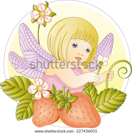 Fairy. Vector illustration of fairy. Gradient and solid fill only, no gradient mech.  - stock vector