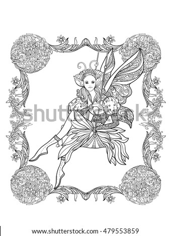 fairy with butterfly wings on swing in decorative frame vector illustration coloring book for