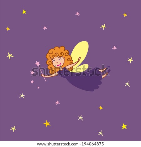 Fairy with wand - stock vector
