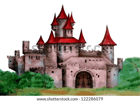Fairytale castle. Vectorization hand painted illustration. - stock vector