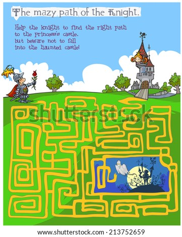 Fairytale children's Maze game. - stock vector