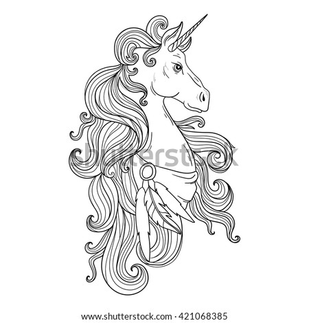 Coloring Pages Unicorn Head : Fairytale vector unicorn hand drawing stock