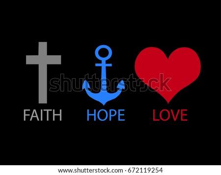 Faith Hope Love Background Black Color Stockvector Rechtenvrij