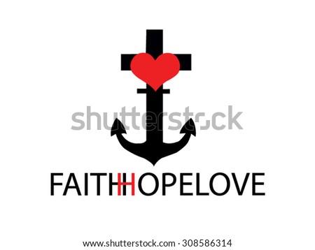 Faith Hope Love Draw Vector Stock Vector Hd Royalty Free 308586314