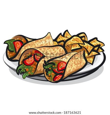 fajitas and tacos - stock vector