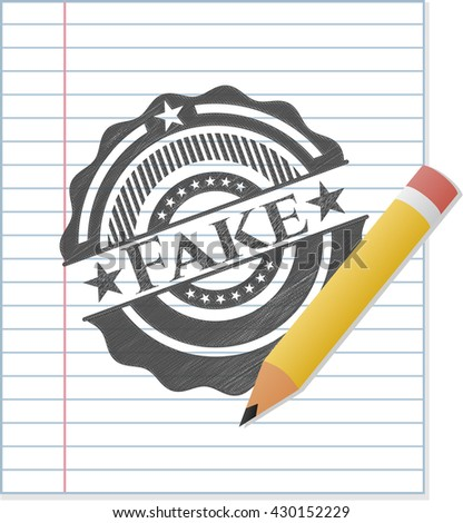 Fake draw with pencil effect - stock vector