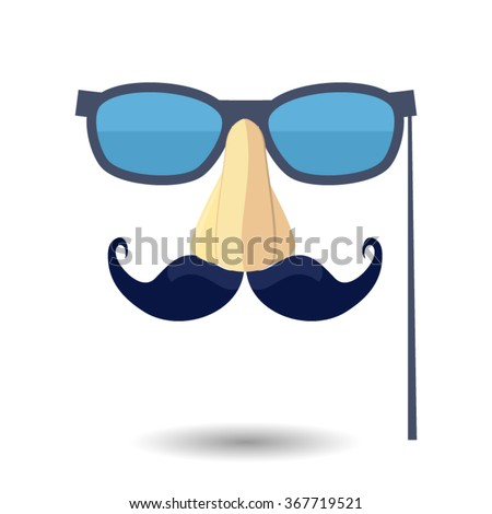 Fake mustache. Vector illustration. Mustachioed man in glasses. mustaches.  Vintage Mustachios, mustache poster design. Hipster style, glasses and mustaches. background. - stock vector