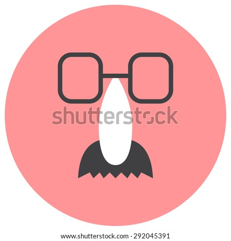 Fake nose and glasses humor mask vector illustration. - stock vector