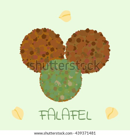 Falafel ball  - arabic food from chickpeas. Vector illustration for vegetarian menu, traditional oriental cuisine dish, eastern snack - stock vector