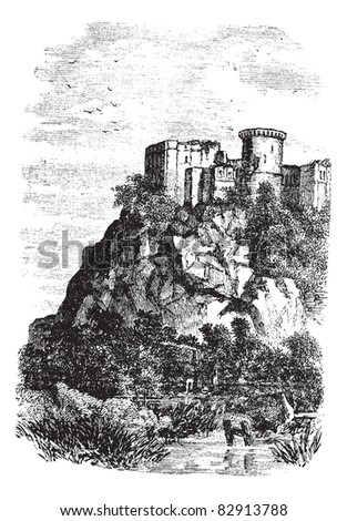Falaise Castle in Normandy, France, during the 1890s, vintage engraving. Old engraved illustration of Falaise Castle in Normandy, on a cliff. Trousset encyclopedia (1886 - 1891). - stock vector