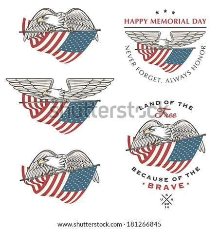 Falcon (eagle) flying with American flag. Independence and Memorial Day design elements - stock vector