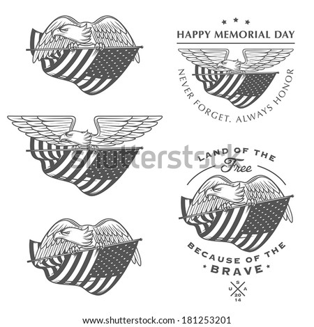 Falcon (eagle) flying with American flag. Independence or Memorial Day design elements