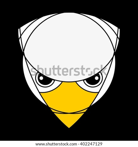 Falcon or eagle head. Raptor isolated on black. Applied for t-shirt, website etc - stock vector