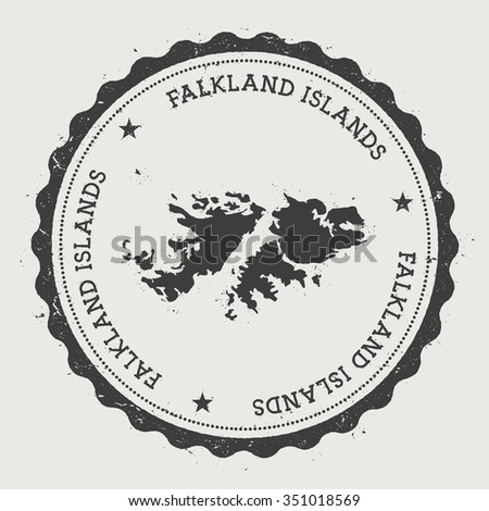 Falkland Islands. Hipster round rubber stamp with Falkland Islands map. Vintage passport stamp with circular text and stars, vector illustration - stock vector