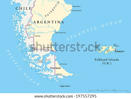 Falkland Islands Political Map and part of South America with national borders, most important cities, rivers and lakes. Vector illustration with English labeling and scaling. - stock vector