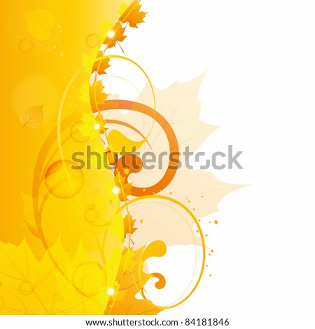 Fall background with leaf and floral - stock vector