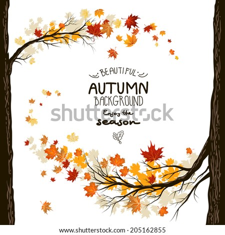 Fall background with leaves. Autumnal frame from trees - stock vector