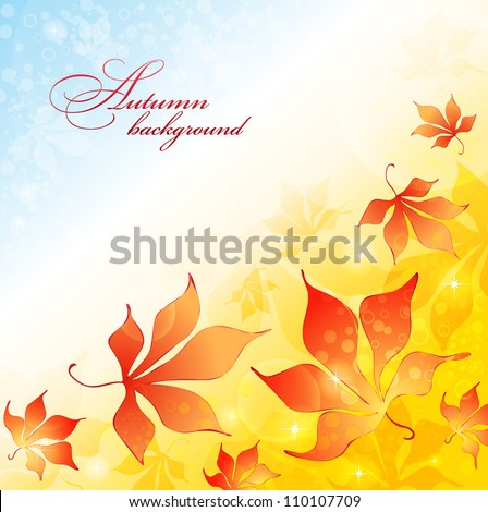 Fall background with yellow leaves