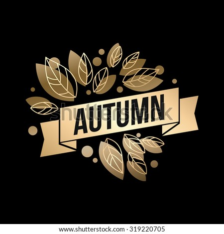 Fall banner with Gold leaves. Vector illustration EPS 10
