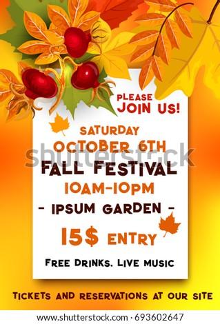 Fall Festival Banner For Autumn Harvest Fest Template. Fallen Leaves Of  Orange Maple And Chestnut