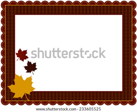 Fall Gingham Frame-Gingham patterned frame with scalloped border designed in Fall theme colors with falling leaves - stock vector
