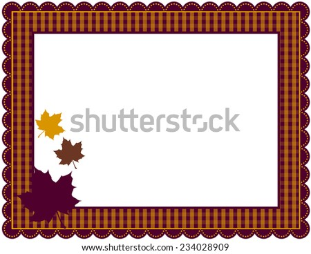 Fall Gingham Frame-Gingham patterned frame with scalloped border designed in Fall theme colors with falling leaves