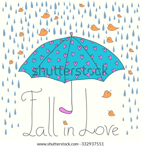 Fall in Love autumn vector illustration with umbrella