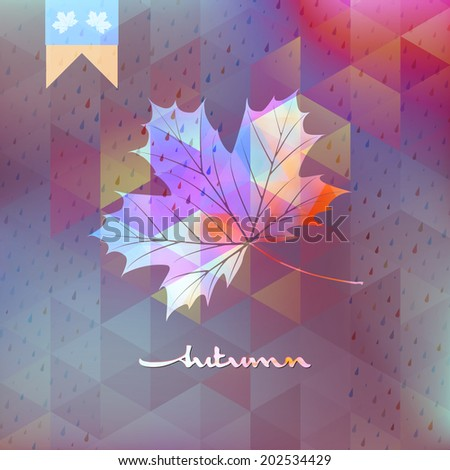 Fall leaf season over geometric colorful Geometric shapes . And also includes EPS 10 vector - stock vector