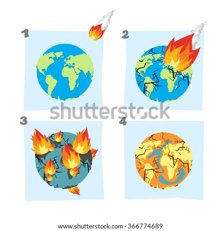 Fall meteorite impact on Earth. An asteroid flies on planet. Hit ground, split Earths crust. Cracks planet Earth. Fire Burns on planet Earth, continents. Global drought. Dry up ocean. Desert on Earth  - stock vector