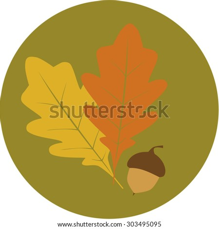 Fall oak leaves and acorn in circle - stock vector