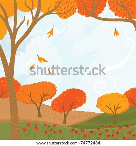 Fall Scene - stock vector
