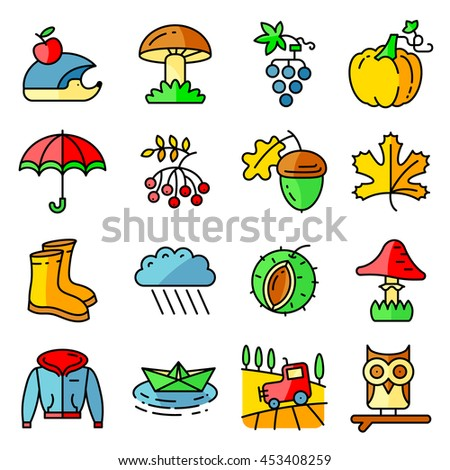 Fall season colorful thin and simply icons set. Web pictogram with autumn and crop objects, mushroom, rainy cloud, paper boat, field landscape, grape, chestnut, acorn, gumboot, owl, hedgehog, pumpkin - stock vector