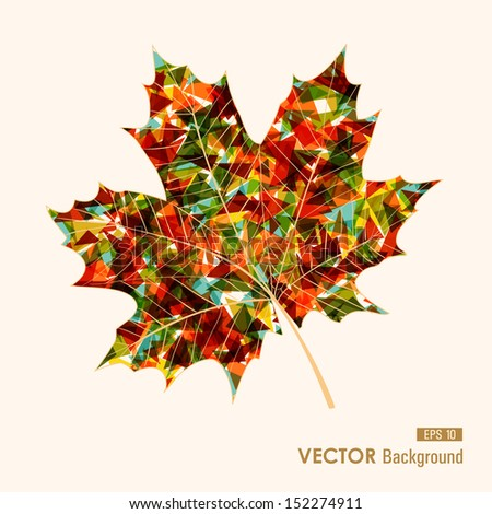 Fall season colorful transparent leaf geometric elements. Abstract autumn background. EPS10 vector file with transparency for easy editing - stock vector
